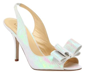 Kate Spade Charm Heels Crocco White Hologram Pumps