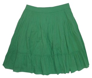 Gap Cotton Flared Elastic Pleated Skirt green