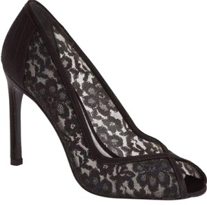 Stuart Weitzman Lace Peep Toe Black Pumps