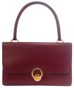 Hermès Vintage Burgundy Ring Rare Satchel in Maroon
