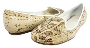 Cole Haan Round Toe Ballet Leather Snakeskin Cream Snake Flats