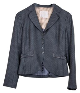 Rebecca Taylor Feminine Faux Pocket Wool Grey Blazer