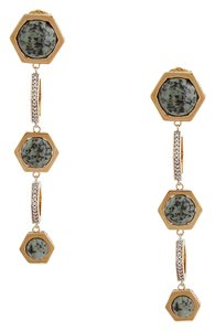 Rachel Zoe Rachel Zoe Green Naodelite And 12K Gold Plated Tri-Drop Earrings