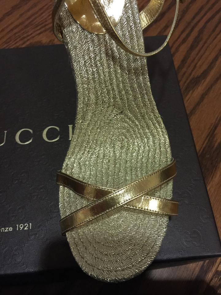 22f1a63768 Gucci Gold Lia Espadrille Wedge 310199 D4f00 8000 Sandals Size US ...