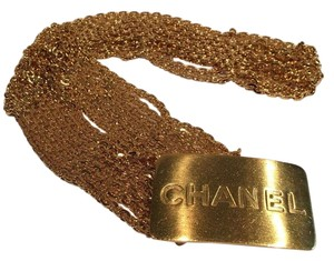 Chanel CHANEL Vintage Gold Chain Logo Plate Belt Gold Tone Chain BELT, Logo ID Buckle, 96 A