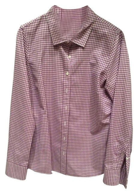 J. Crew Button Down Shirt Purple And White Check