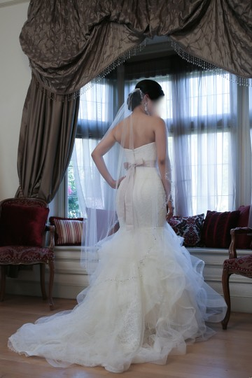 Vera Wang Ivory Tulip and Rose Patterned Chantilly Lace Lilliam Fall Collection 2013 Sexy Wedding Dress Size 4 (S) Image 3