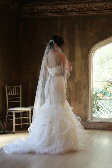 Vera Wang Ivory Tulip and Rose Patterned Chantilly Lace Lilliam Fall Collection 2013 Sexy Wedding Dress Size 4 (S) Image 6