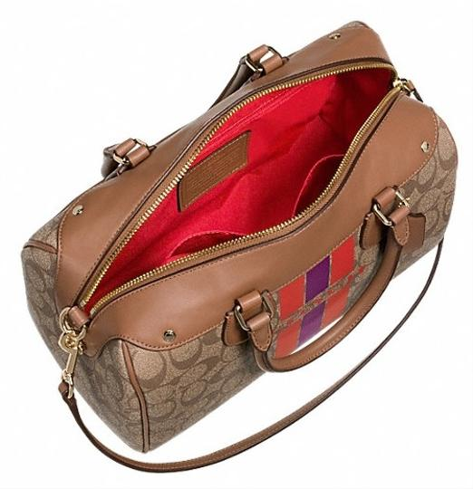 Coach Satchel in khaki/watermelon