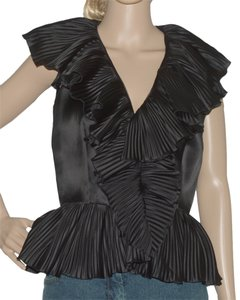Oscar de la Renta Top Black Silk