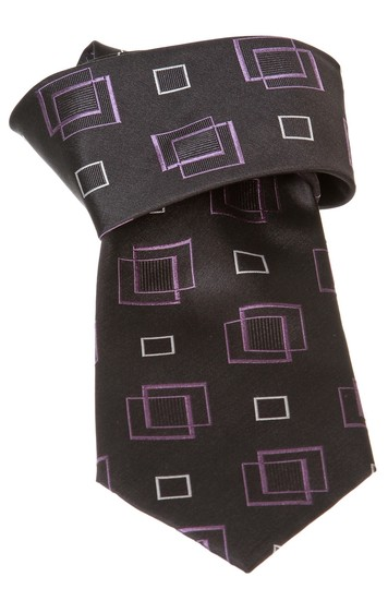 Geoffrey Beene Geoffrey Beene Black Multicolor Print Silk Men's Tie New