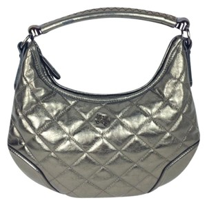 Burberry Grey Leather Quilted Leather Handle Shoulder Bag