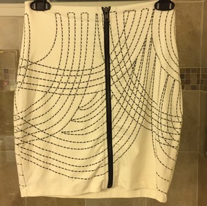 bebe Mini Skirt Black white silver