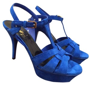 Saint Laurent Tribute Blue Pumps