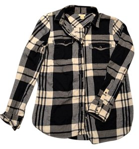 J.Crew Casual Classic Boyfriendshirt Relax Plad Button Down Shirt Black/Gray/Navy