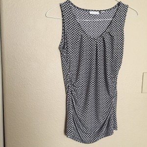 New York & Company Top Black with grey and white dot print