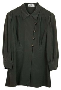 Prada 3/4 Sleeve Double Breasted Silk Top Green