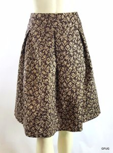 Kay Unger Ny Gold Silk Metallic Pleated Floral Elegant Skirt Brown