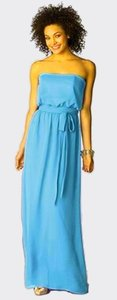 After Six Full Length Strapless Chiffon Blue Dress