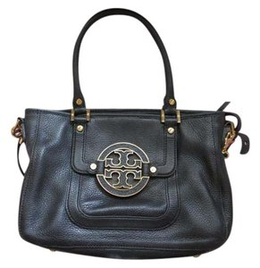 Tory Burch Gold Leather Satchel in Black