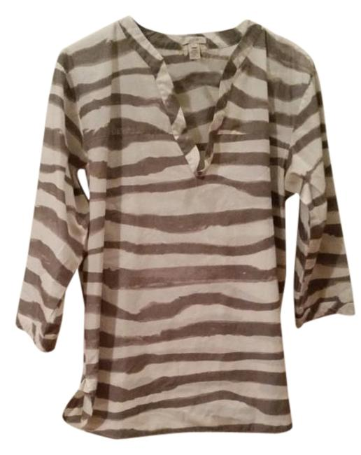 Item - Wavy Striped Coffee/White Tunic Size 4 (S)