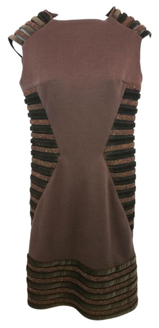 Item - Banded Trim Dark Brown Knee Length Night Out Dress Size 6 (S)