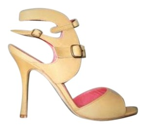 Manolo Blahnik Leather Ankle Cuff Sandals Heels Beige Pumps
