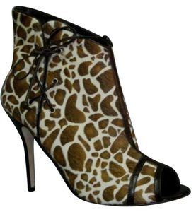 Manolo Blahnik Famina Animal Print Pony Fur Ankle Multi-Color Boots