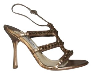 Jimmy Choo Strappy Evening Jeweled Heels Gold Pumps
