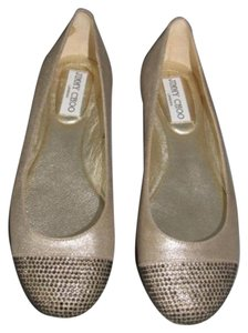 Jimmy Choo Leather Crystal Ballet Gold Flats