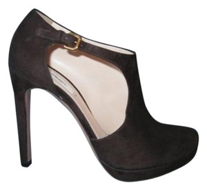 Prada Dark Suede Cut Out Ankle Heels Brown Boots
