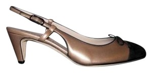 Chanel 11p Khaki Black Sling Back Heels Bronze Pumps