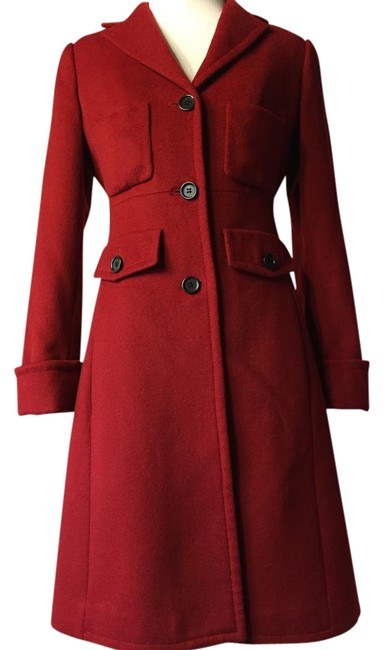 Item - Dark Red Long Tailored Wool Coat Size 2 (XS)