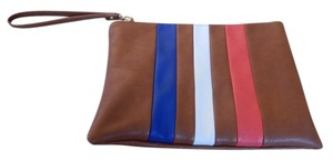 Free People Vegan Striped Wristlet in Brown White Blue Red