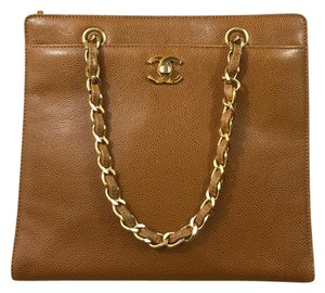 Chanel Vintage Leather Tote in Camel Brown