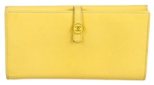 Chanel Chanel Yellow Caviar Leather Wallet