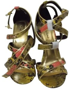 Michael Antonio Yellow, Pink, Black, and Gold Sandals