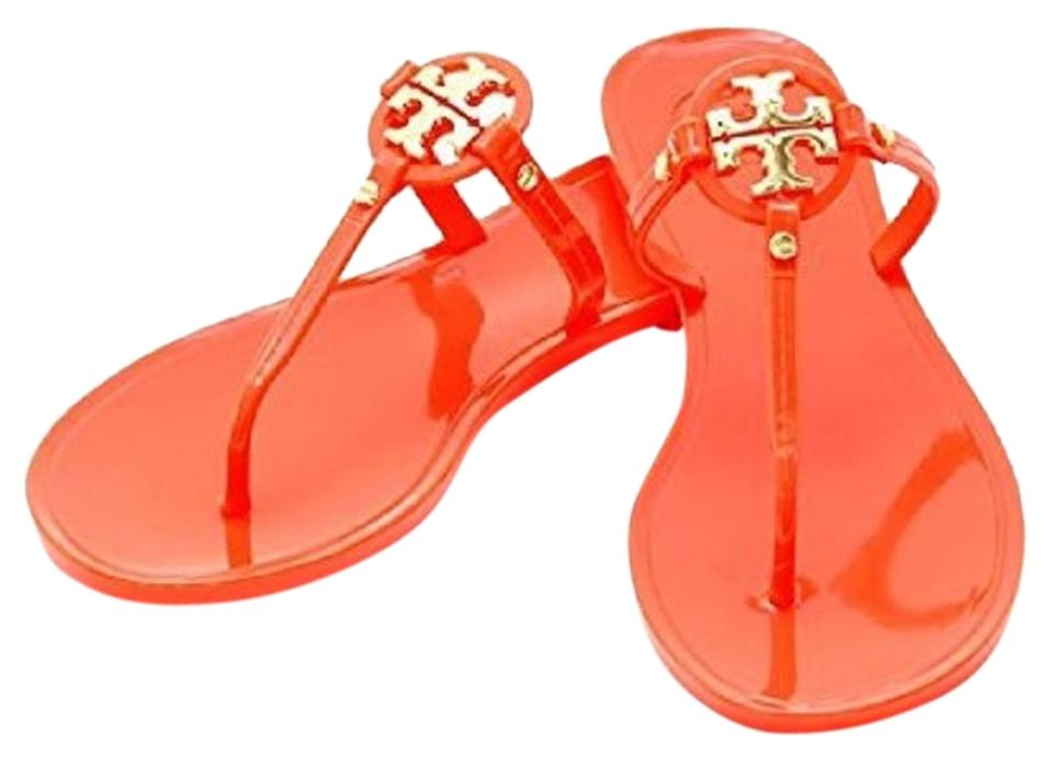 f3be190e86f1b Tory Burch Poppy Coral Orange Mini Miller Jelly Thong Sandals Size ...