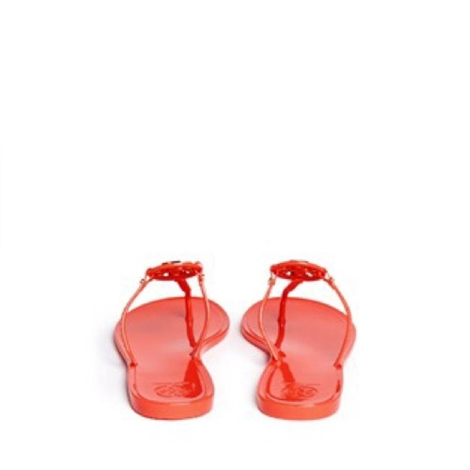 dc2c66ebfd9ed2 Tory Burch Poppy Coral Orange Mini Miller Jelly Thong Sandals Size US 9  Regular (M