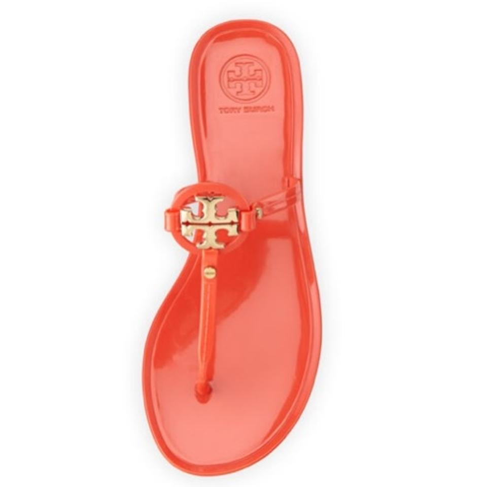 f32f861375d1a4 Tory Burch Poppy Coral Orange Mini Miller Jelly Thong Sandals Size ...
