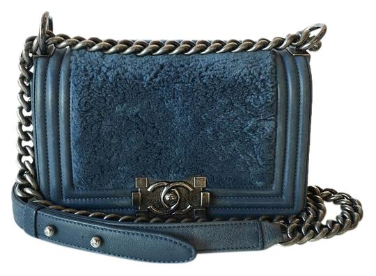 a7d1145bc213 Chanel Classic Flap Boy Small With Blue Leather & Rabbit Fur Shoulder Bag -  Tradesy
