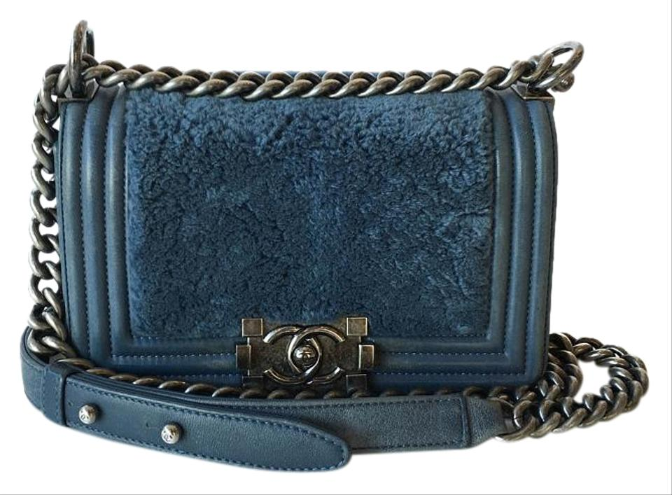 85235c025681 Chanel Boy Classic Flap Small With Blue Leather & Rabbit Fur Shoulder Bag -  Tradesy