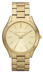 Michael Kors Michael Kors Slim Runway Champagne Dial Gold-Plated Ladies Watch 42mm MK3179