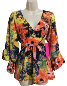 Betsey Johnson Top Apricot Multicolor