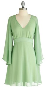 Modcloth Solid Color A-line Exclusive Green Party V-neck Pastel Sheer Longsleeve Dress