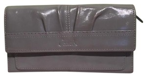 Coach COACH Gray Shiny Patent Leather Pleated Large Clutch Wallet Silver Hardware