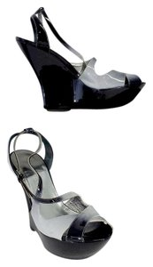 Gunmetal Black & Grey Patent Leather Platform Wedges