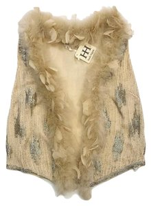 Haute Hippie Nude Beaded Feather Trimmed Vest