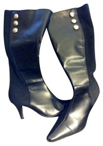 Predictions High Heeled Knee High Leather Black Boots