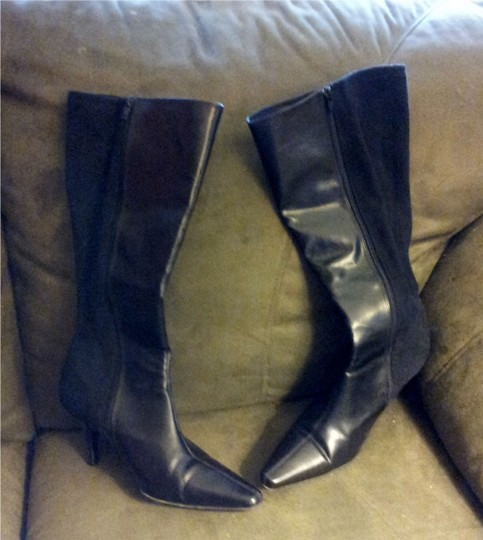 Predictions High Heeled Knee High Leather Black Boots Image 1
